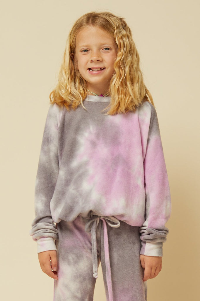 Purple and Grey Tie Dye Tie Waist Crewneck  - Doodlebug's Children's Boutique