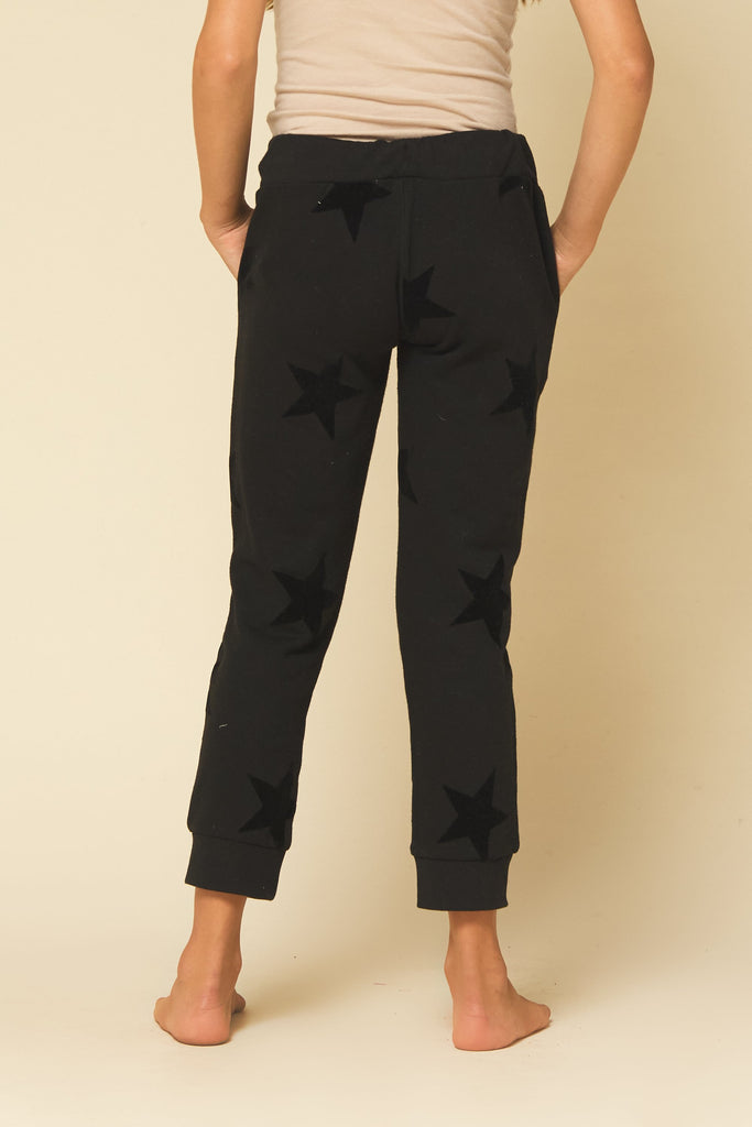 Washed Black Star Joggers  - Doodlebug's Children's Boutique