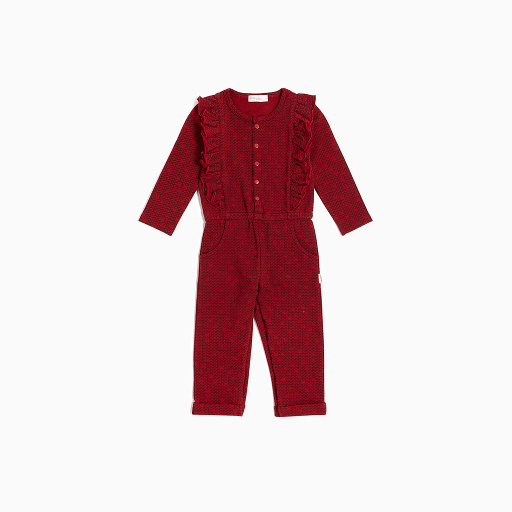 Red Pixel Heart Playsuit  - Doodlebug's Children's Boutique