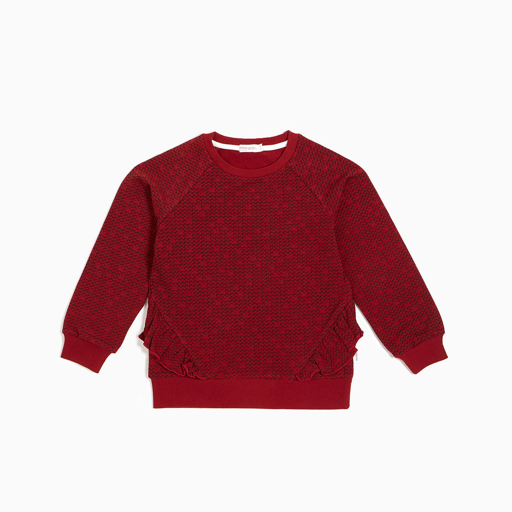 Red Pixel Heart Ruffled Crew Neck Sweater  - Doodlebug's Children's Boutique