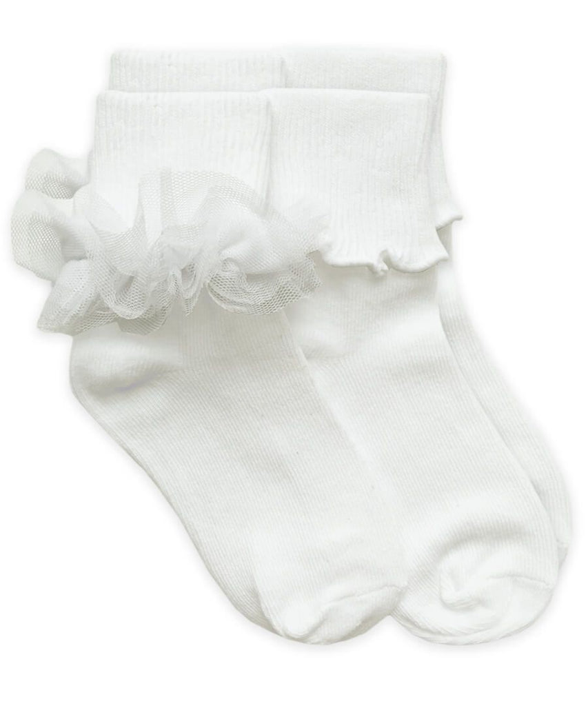Ruffle and Ripple 2 Pack Socks in White  - Doodlebug's Children's Boutique