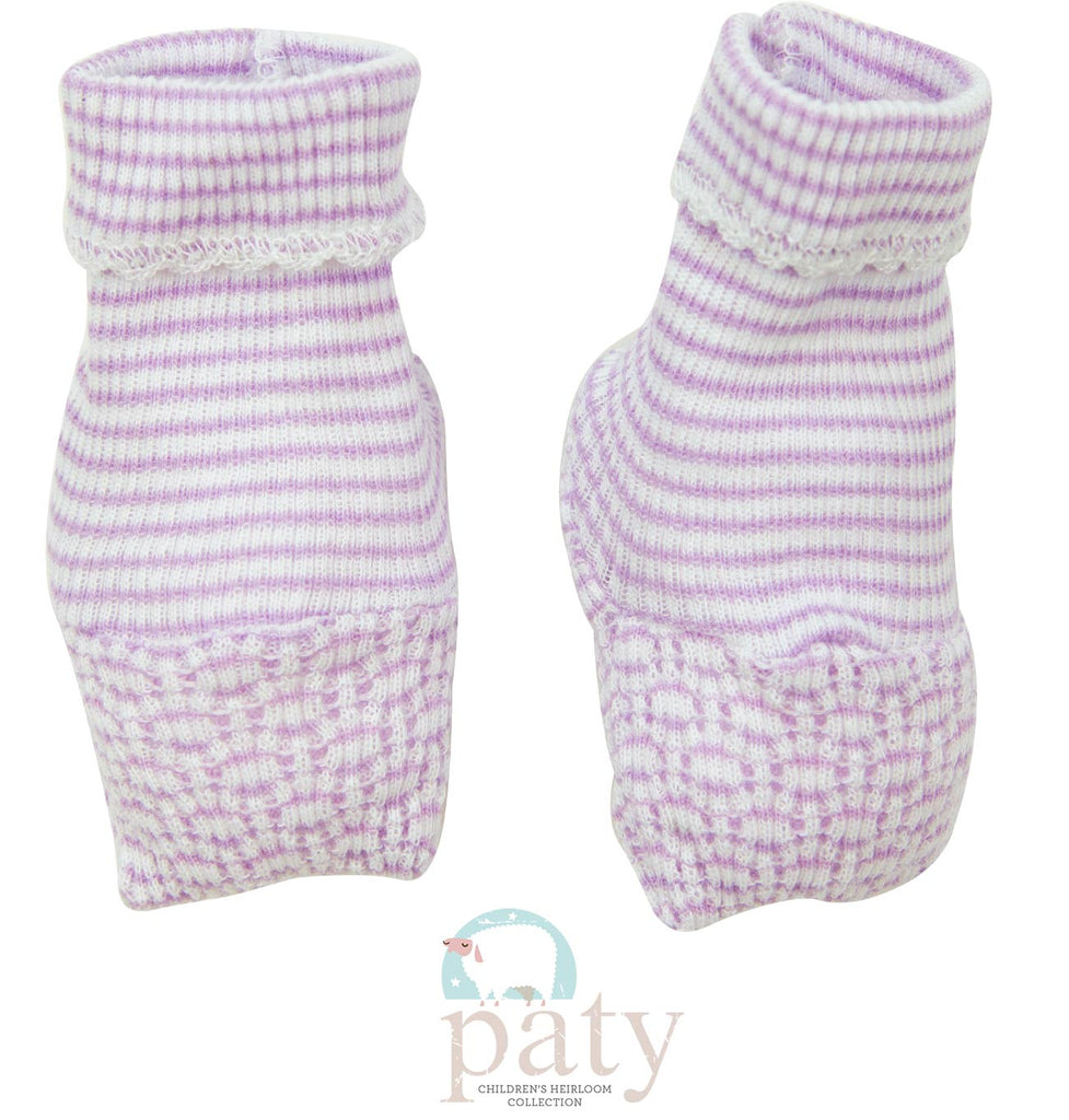 Lavender Stripe Booties  - Doodlebug's Children's Boutique