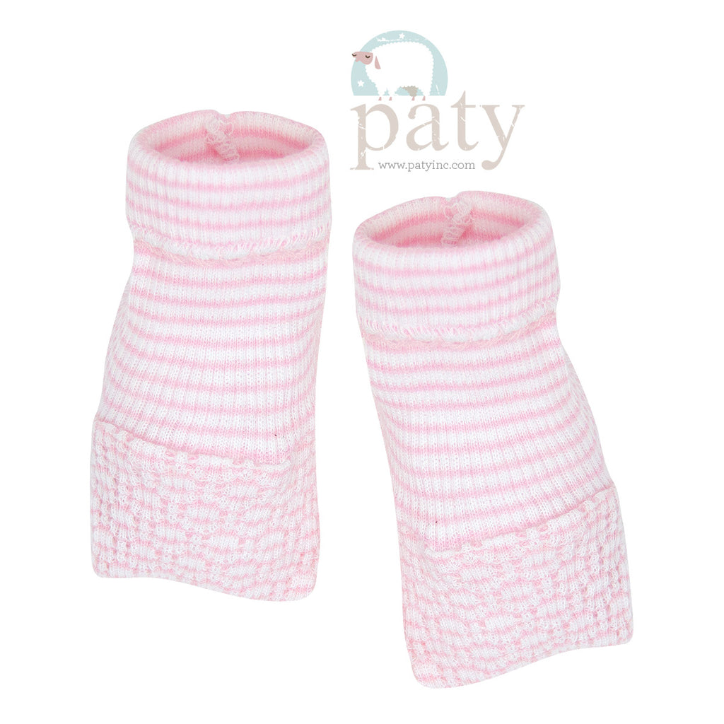 Pink Stripe Booties  - Doodlebug's Children's Boutique