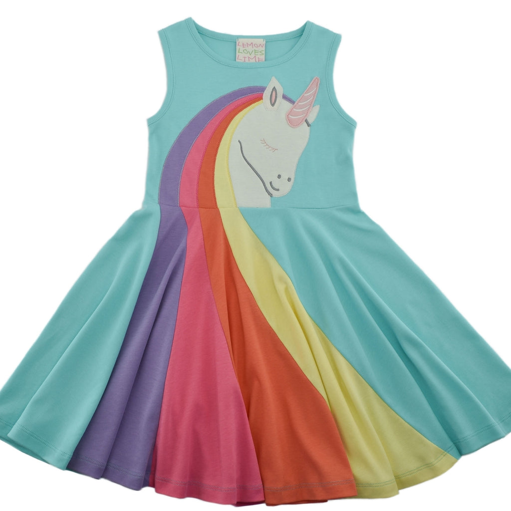 Unicorn Friend Dress in Aruba Blue  - Doodlebug's Children's Boutique