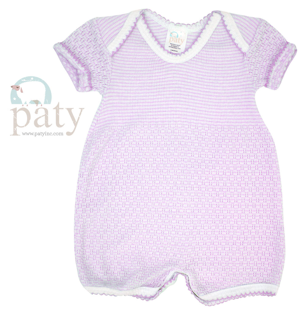 Lavender Stripe Lap Shoulder Bubble Newborn - Doodlebug's Children's Boutique