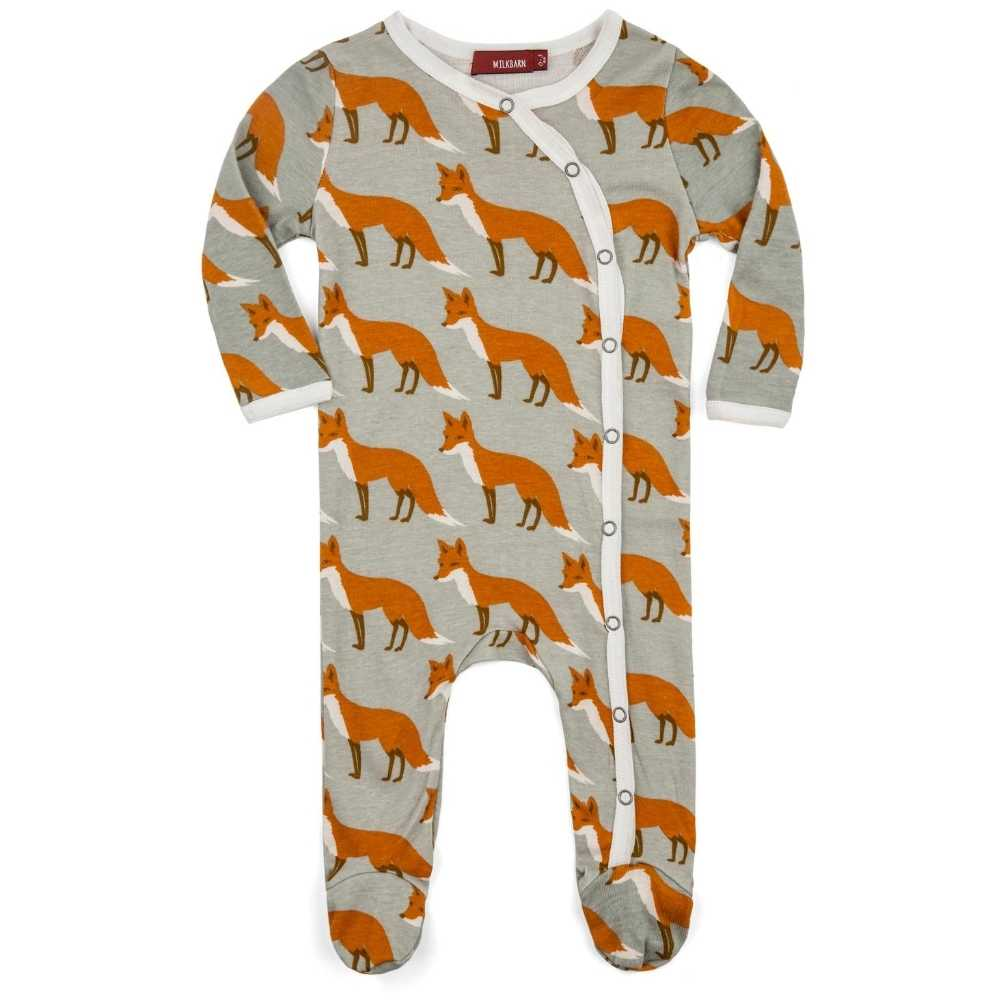 Orange Fox Organic Cotton Footed Romper  - Doodlebug's Children's Boutique