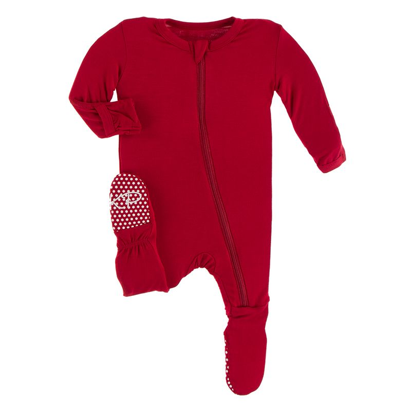 Solid Footie with Zipper in Crimson  - Doodlebug's Children's Boutique