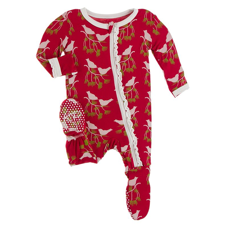 Print Muffin Ruffle Footie with Zipper in Crimson Kissing Birds  - Doodlebug's Children's Boutique