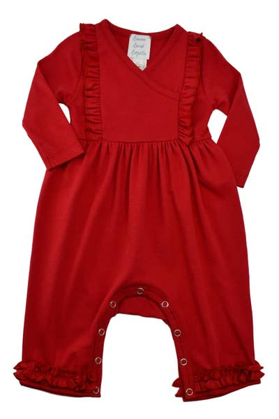 Phoebe Romper in True Red Red / 0-3 Months - Doodlebug's Children's Boutique