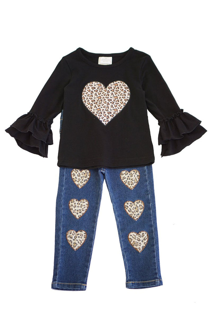Leopard Heart Set  - Doodlebug's Children's Boutique