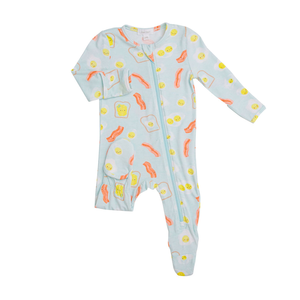 Zipper Footie in Blue Bacon and Eggs  - Doodlebug's Children's Boutique