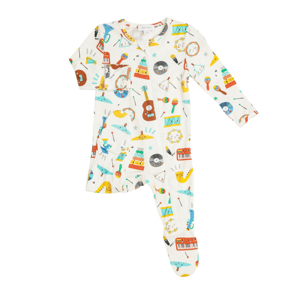 Zipper Footie in Happy Music  - Doodlebug's Children's Boutique