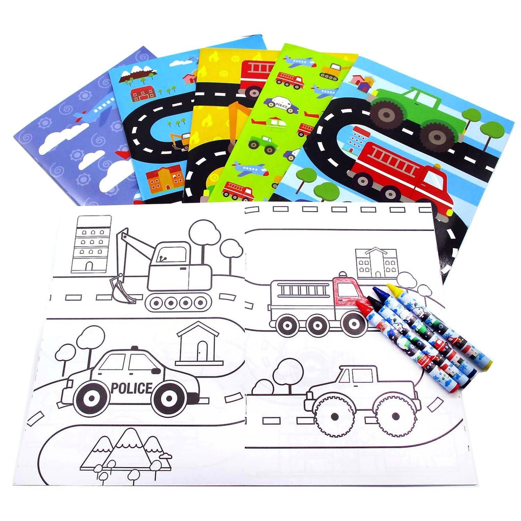 Vehicles Coloring Book with Crayons  - Doodlebug's Children's Boutique