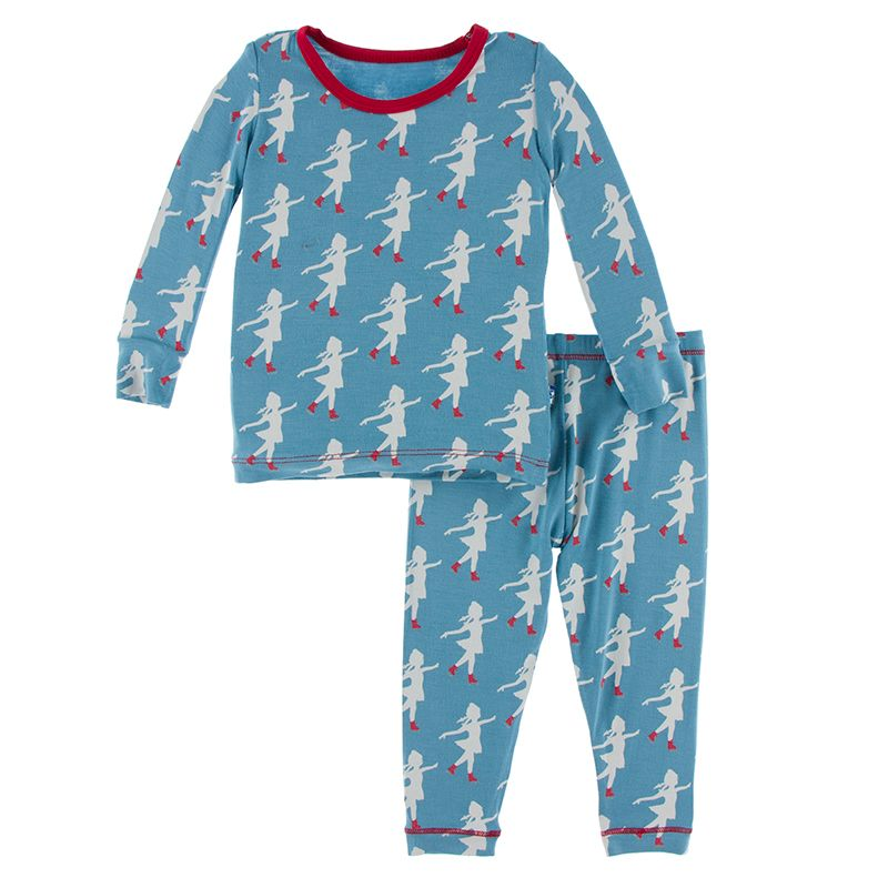 Print Long Sleeve Pajama Set in Blue Moon Ice Skater  - Doodlebug's Children's Boutique