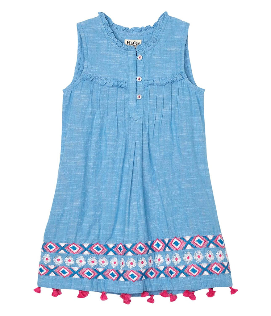 Chambray Floral Pin Tuck Dress  - Doodlebug's Children's Boutique