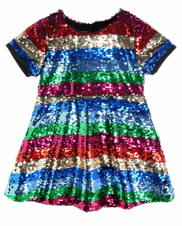 Doe A Dear Stripe Sequin Dress  - Doodlebug's Children's Boutique