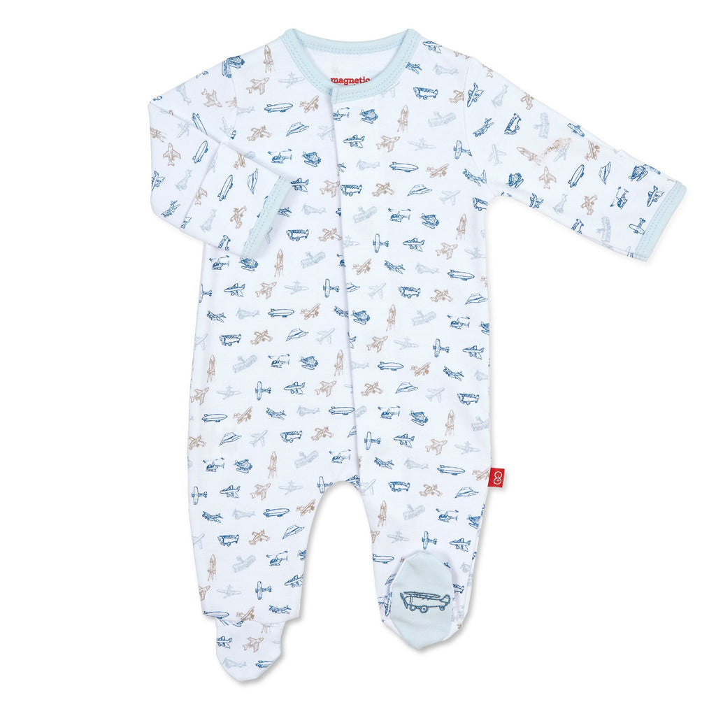 Airplanes Magnetic Organic Cotton Footie Airplanes / 0-3 months - Doodlebug's Children's Boutique