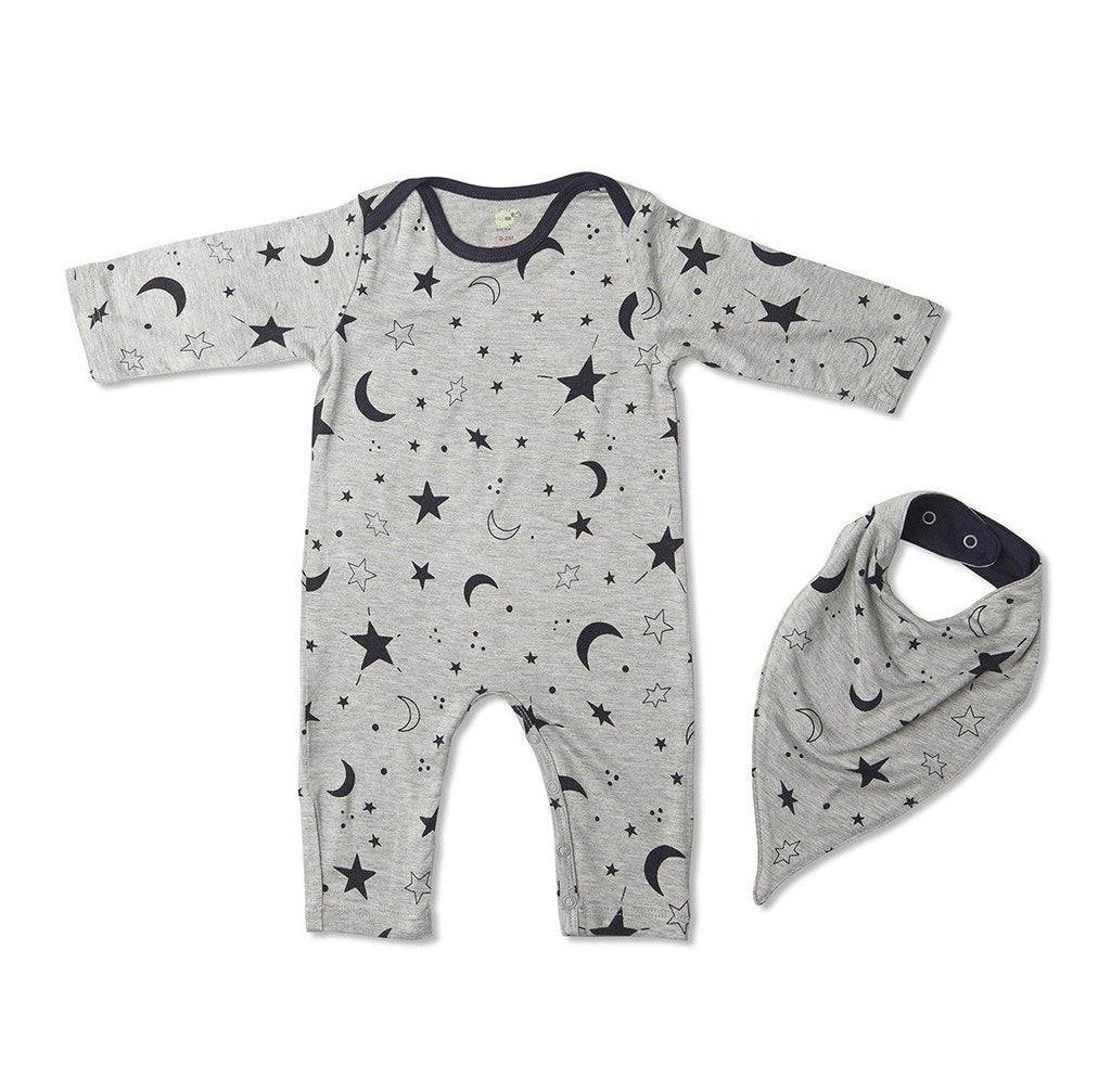 Romper and Bib Set in Twinkle Night  - Doodlebug's Children's Boutique