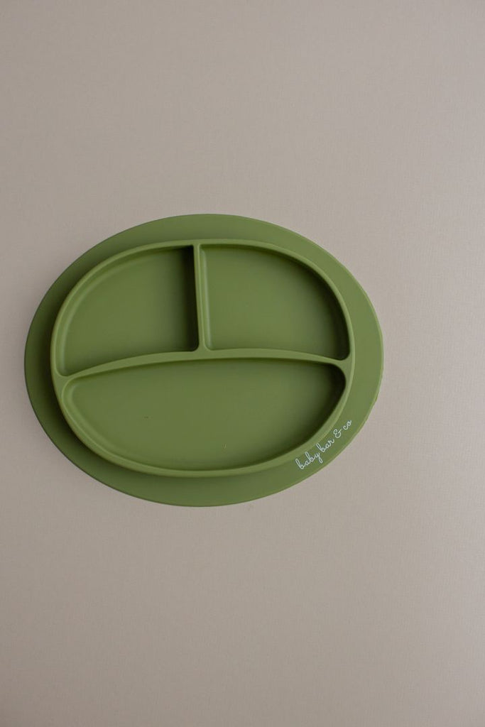 Suction Sili Plate in Army Green  - Doodlebug's Children's Boutique