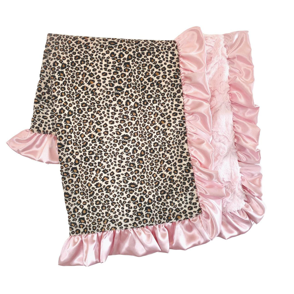 Ruffled Baby Pink Cheetah Blanket  - Doodlebug's Children's Boutique