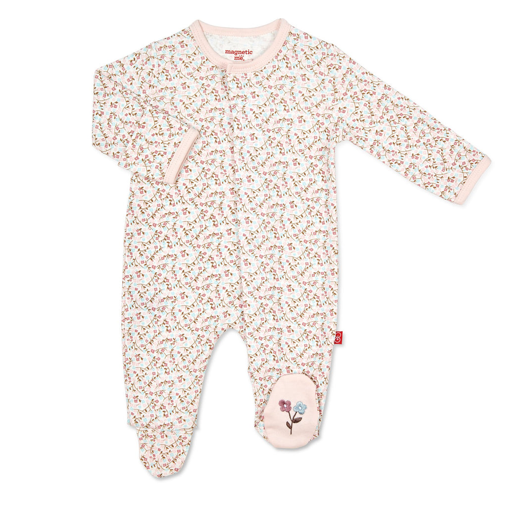 Bedford Floral Magnetic Organic Cotton Footie Bedford Floral / 0-3 months - Doodlebug's Children's Boutique