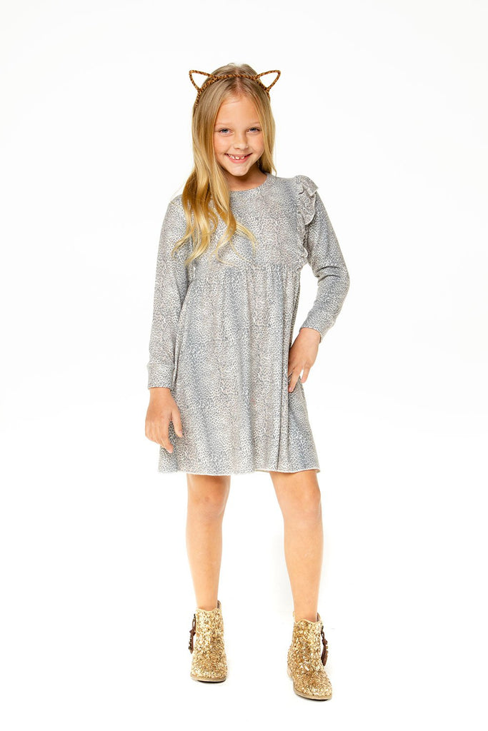Leopard Knit Asymmetrical Ruffle Mini Dress  - Doodlebug's Children's Boutique