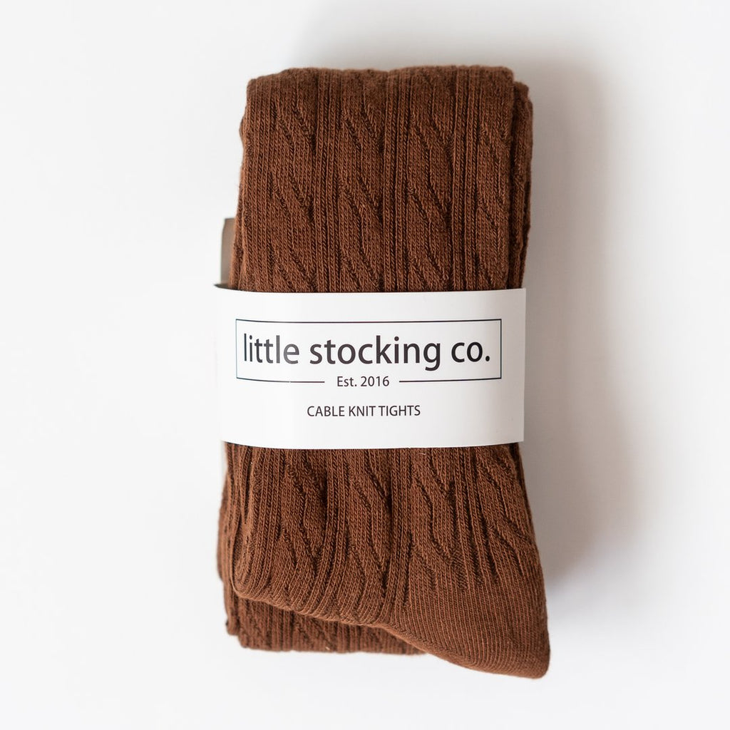 Cable Knit Tights in Chocolate  - Doodlebug's Children's Boutique