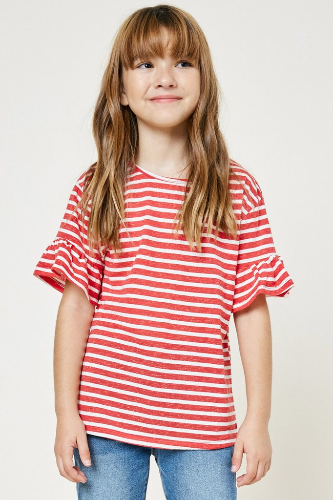 Stripe Ruffle Sleeve Tee  - Doodlebug's Children's Boutique