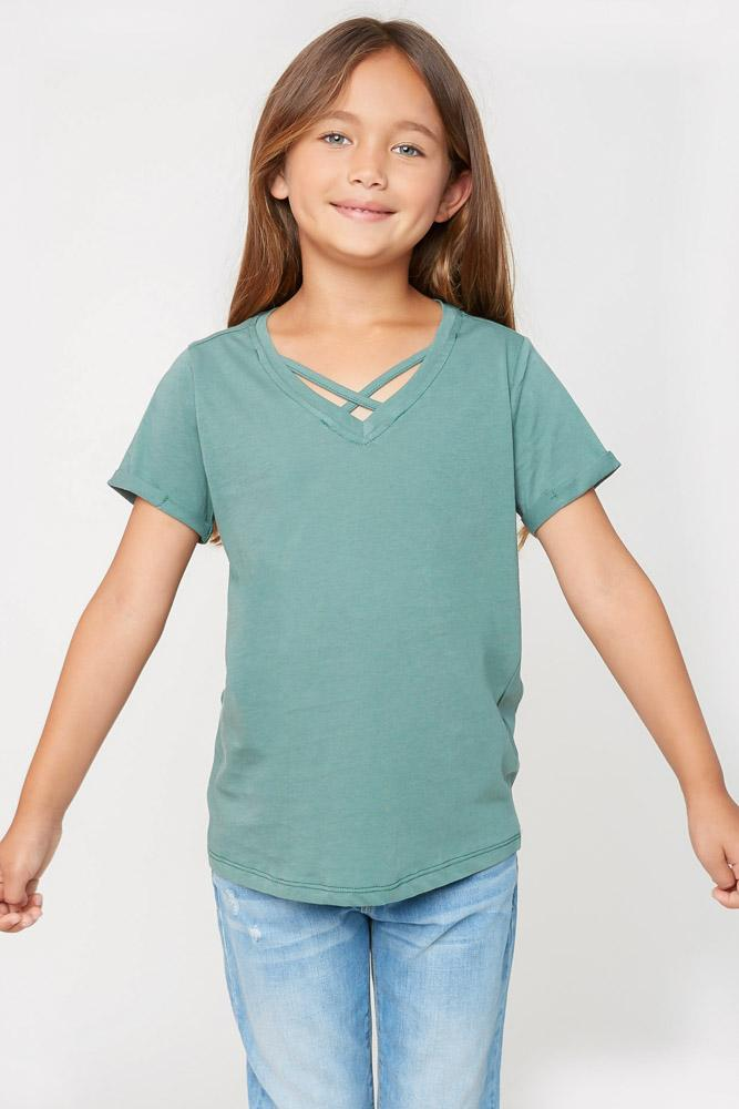 Criss Cross Tee in Sage  - Doodlebug's Children's Boutique