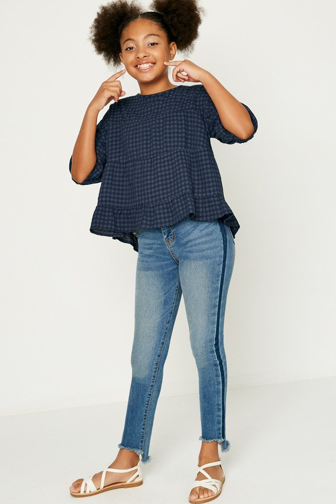 Plaid Ruffle Puff Sleeve Top  - Doodlebug's Children's Boutique