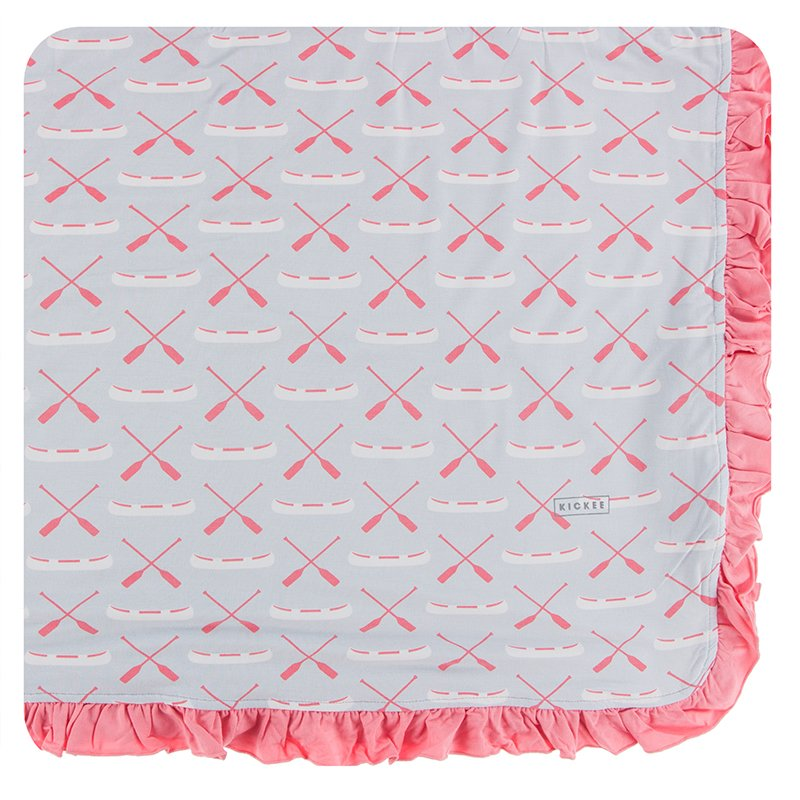 Print Ruffle Toddler Blanket in Dew Paddles and Canoe  - Doodlebug's Children's Boutique