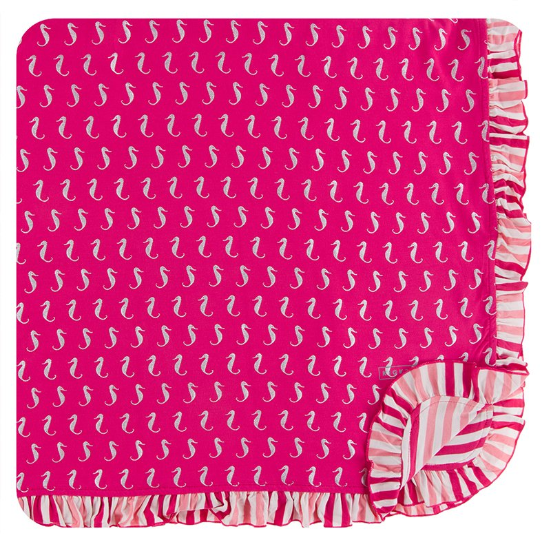 Print Ruffle Toddler Blanket in Prickly Pear Mini Seahorses  - Doodlebug's Children's Boutique