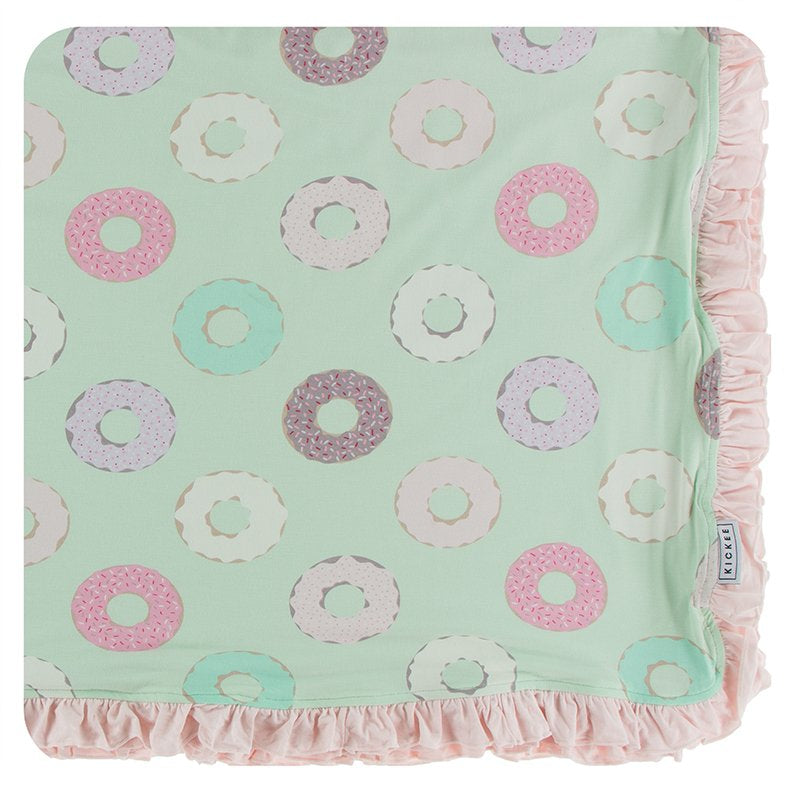 Print Ruffle Toddler Blanket in Pistachio Donut  - Doodlebug's Children's Boutique