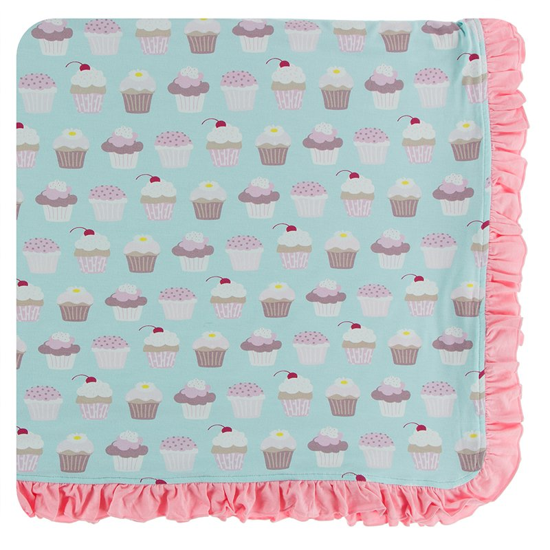 Print Ruffle Toddler Blanket in Summer Sky Cupcakes  - Doodlebug's Children's Boutique