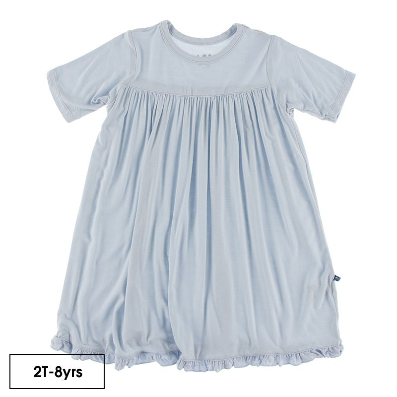 Solid Classic Short Sleeve Swing Dress in Dew  - Doodlebug's Children's Boutique