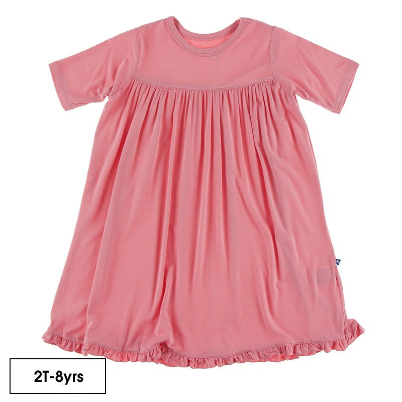 Solid Classic Short Sleeve Swing Dress in Strawberry  - Doodlebug's Children's Boutique