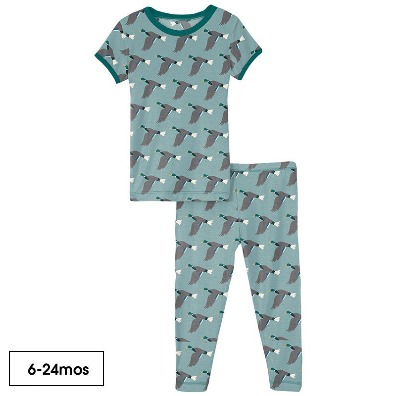 Print Short Sleeve Pajama Set in Jade Mallard Duck  - Doodlebug's Children's Boutique