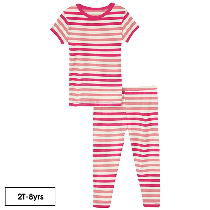 Print Short Sleeve Pajama Set in Forest Fruit Stripe  - Doodlebug's Children's Boutique