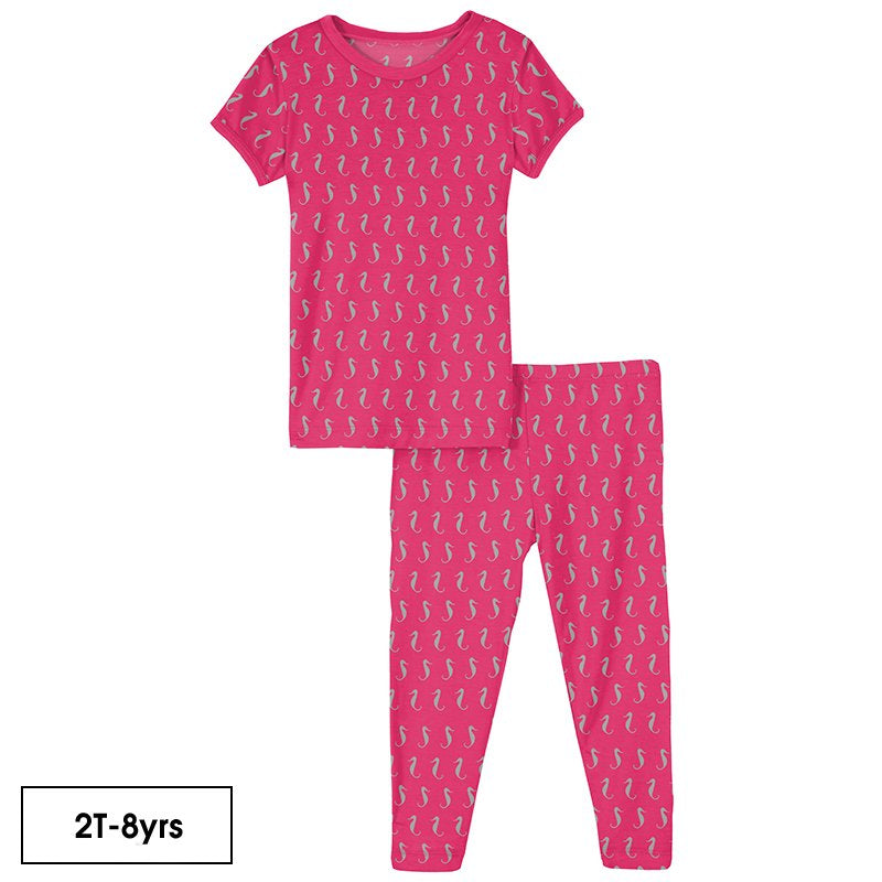 Print Short Sleeve Pajama Set in Prickly Pear Mini Seahorses  - Doodlebug's Children's Boutique