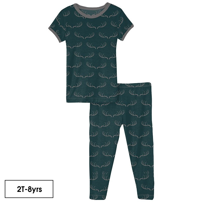 Print Short Sleeve Pajama Set in Pine Deer Rack  - Doodlebug's Children's Boutique