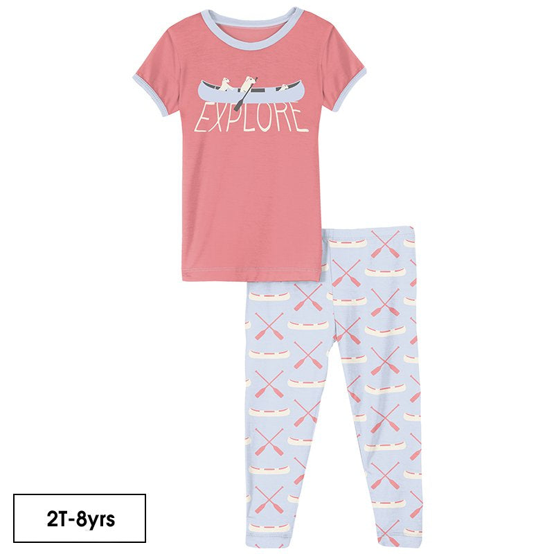 Short Sleeve Graphic Tee Pajama Set in Dew Paddles and Canoe  - Doodlebug's Children's Boutique