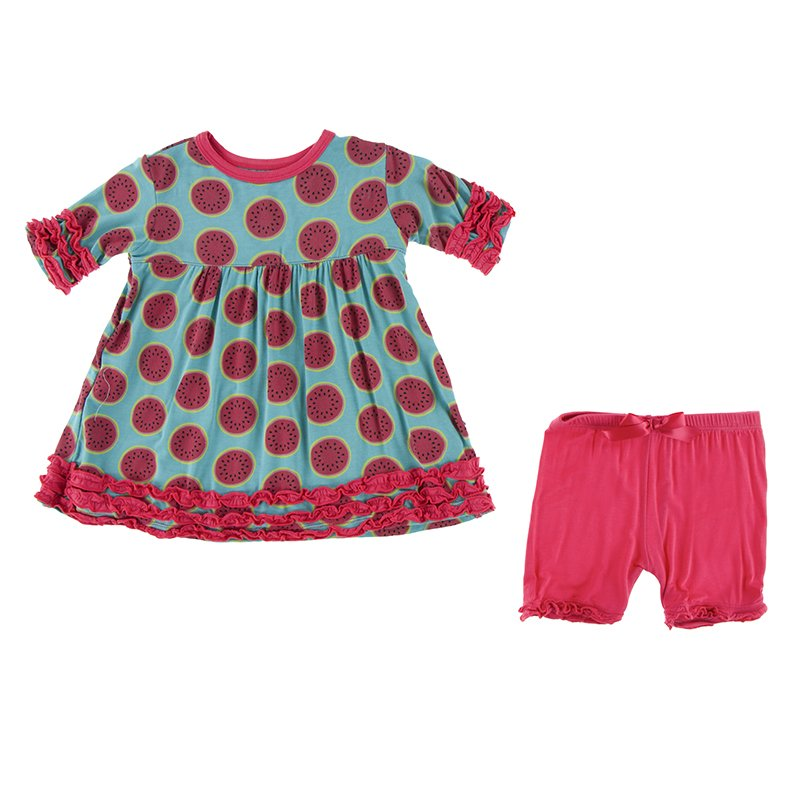 Neptune Watermelon Short Sleeve Babydoll Outfit Set  - Doodlebug's Children's Boutique