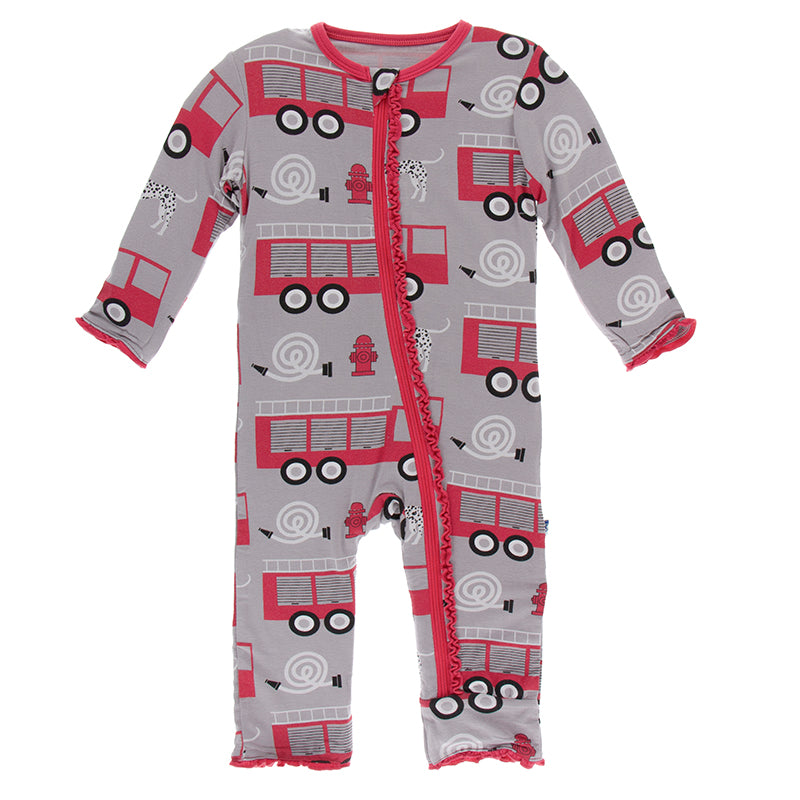 Print Muffin Ruffle Coverall with Zipper in Feather Firefighter  - Doodlebug's Children's Boutique