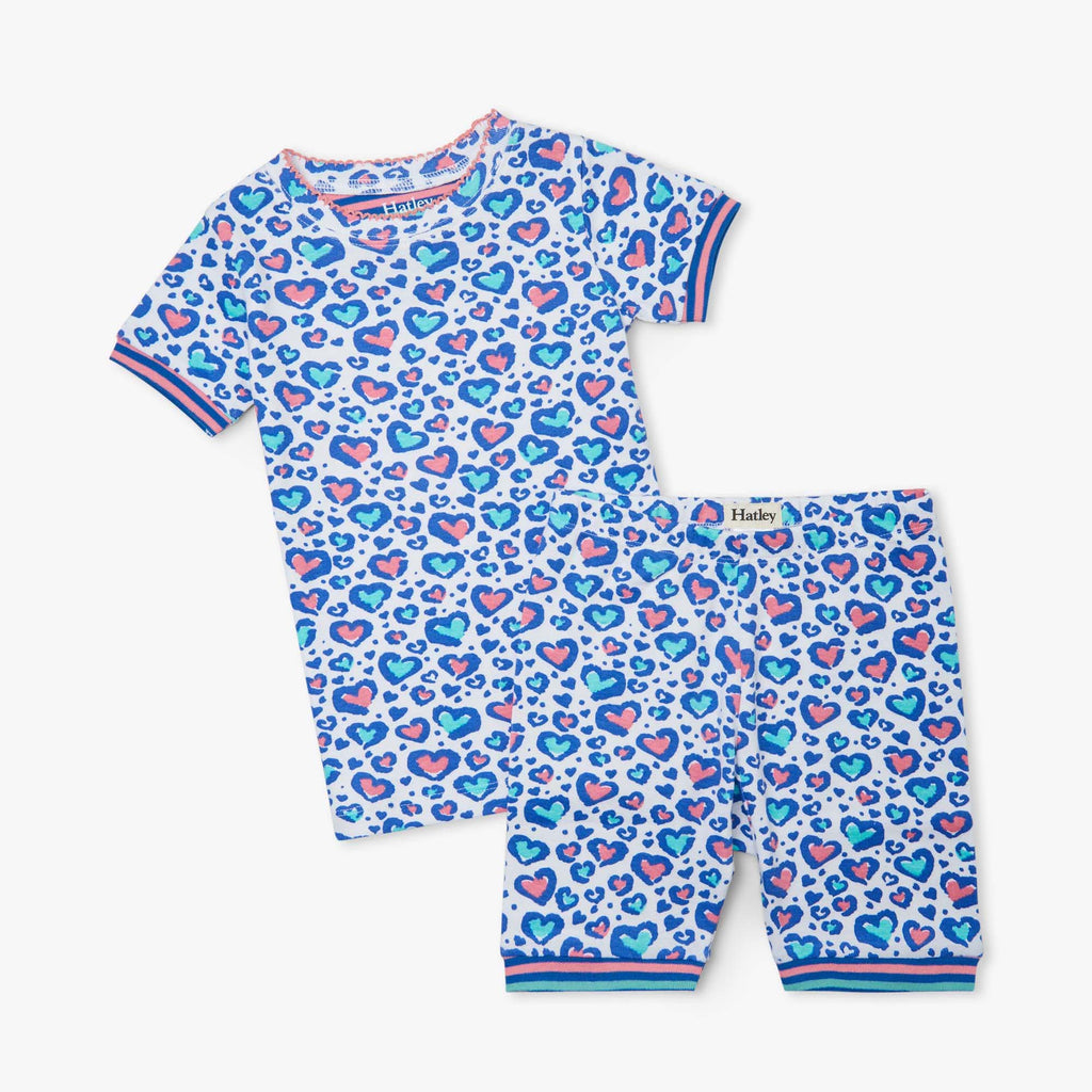 Cheetah Hearts Organic Cotton Short Pajama Set  - Doodlebug's Children's Boutique
