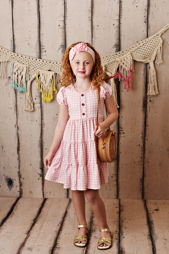 Gingham Teir Dress  - Doodlebug's Children's Boutique