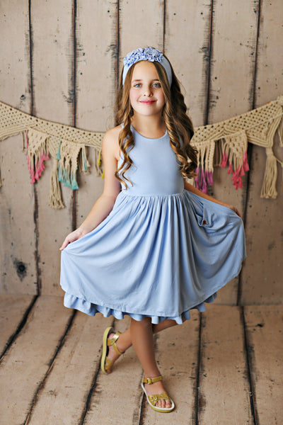 French Blue Pocket Essential Dress  - Doodlebug's Children's Boutique