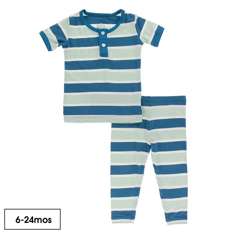 Short Sleeve Henley Pajama Set in Seaside Cafe Stripe  - Doodlebug's Children's Boutique