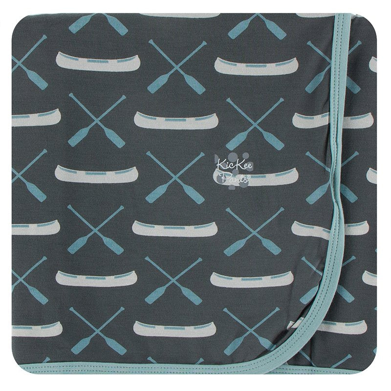Print Swaddling Blanket in Stone Paddles and Canoe  - Doodlebug's Children's Boutique