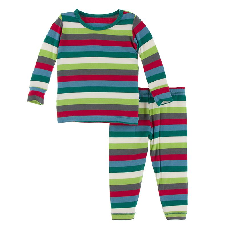 Print Long Sleeve Pajama Set in Multi Stripe  - Doodlebug's Children's Boutique