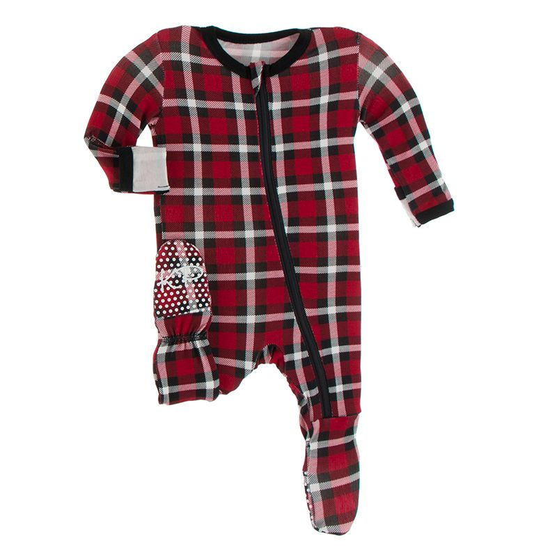 Print Footie with Zipper in Crimson Holiday Plaid  - Doodlebug's Children's Boutique